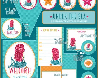 UNDER THE SEA Mermaid // Printable Party Decoration Package