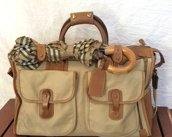 GHURKA The Express No 2 Marley Hodgson Excellent Worn Patina Vintage Authentic Tan Leather Duffle Bag Carry On Weekend Bag