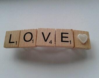 Love Scrabble tile barette