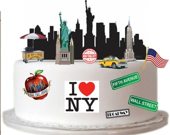 Stand Up New York City Scene made from Fully Edible Premium Wafer Paper - Cake Topper Decoration