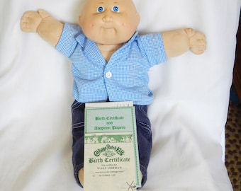 Doll adoption papers etsy 1980s cabbage patch kid walt jordan boy with birth certificate adoption papers yadclub Choice Image