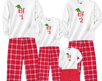 Family of Elves Christmas Pajamas - Elf #1, Elf #2, Elf #3, etc. - Great Family Holiday Gift Idea  (753)