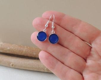Blue Drop Earrings, Little Blue Charm Earrings, Resin Jewellery, Blue Jewellery, UK Seller