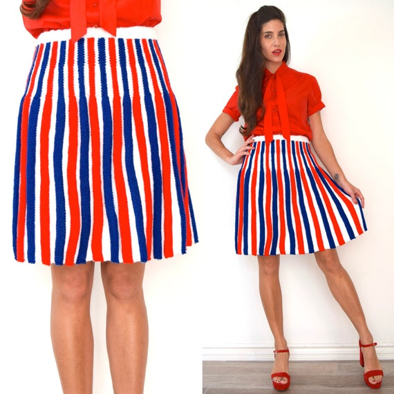 Vintage 60s 70s Red White and Blue Striped Knit A-Line Skirt (size medium, large)