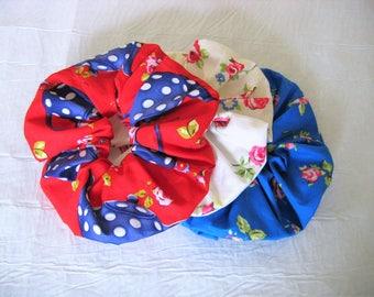 Scrunchie/Hair Scrunchies/Retro Hair Accessories/Retro Hair Scrunchies/Red Scrunchie/Blue Scrunchie/White scrunchie/Floral Hair scrunchie