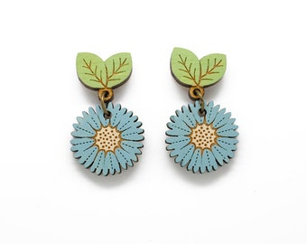 Cornflower drop stud earrings - hand painted laser cut flower earrings