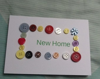 New Home Card, Moving Home Card, Housewarming Card, Brand New Home, Button Card, First Home Card, New House Card, Moving House Card