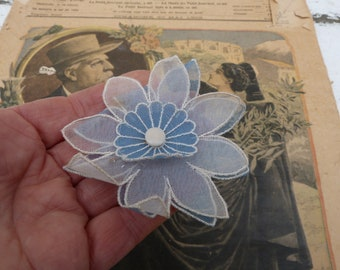 Vintage 1960/60s French  soft blue  millinery flower  applique