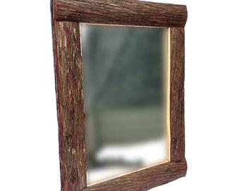LOG MIRROR, Rustic Mirror, Bark Mirror, Cabin Mirror, Woodland Mirror, Mirror, Wall Mirror