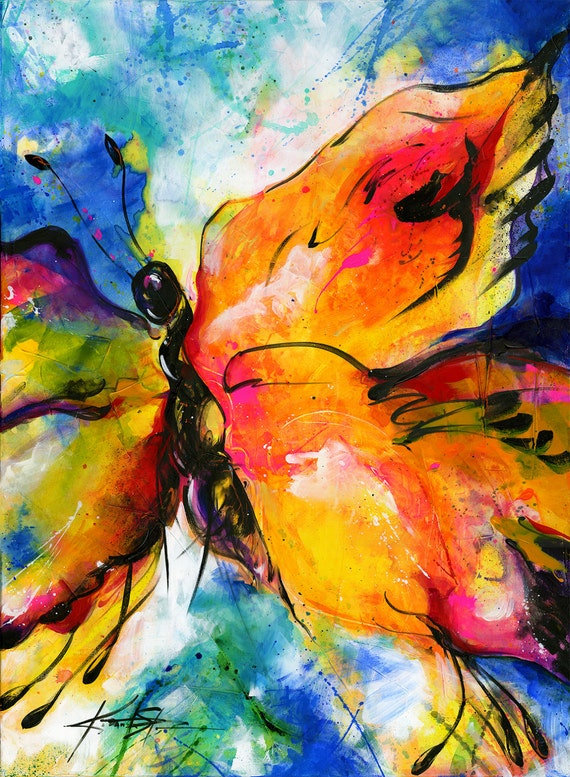 Yellow Butterfly Painting Large Abstract Canvas Art