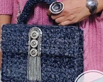 Evening bag, clutch, organic glass bag, crochet bag, knitted bag, woman bag, gold color bag