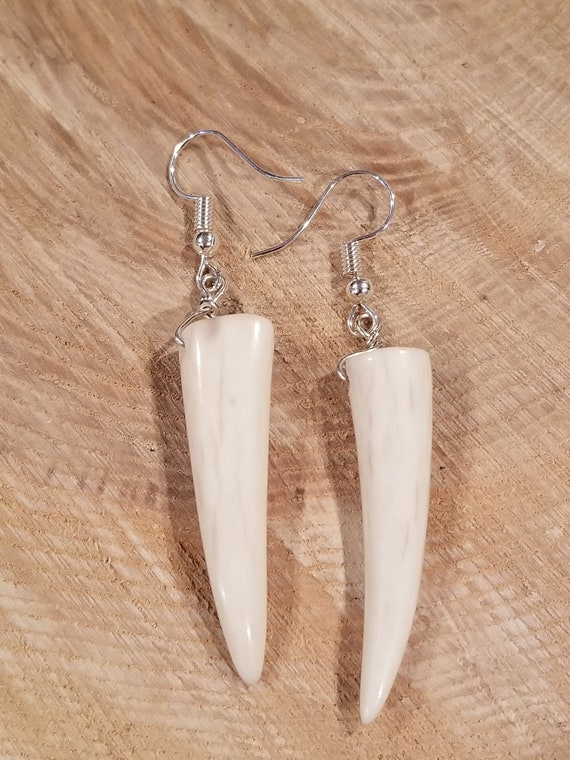 Handmade Outdoor Hunting Real Deer Antler Tines Polished Earrings Native American Outdoors Style Fashion Jewelry (E233)