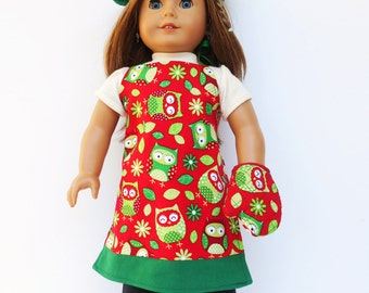 18 Inch Doll Clothes, Reversible Apron, Chef's Hat, 2 Oven Mitts, Owl Print or Polka Dot Apron, Green Chef's Hat, fits American Girl Dolls