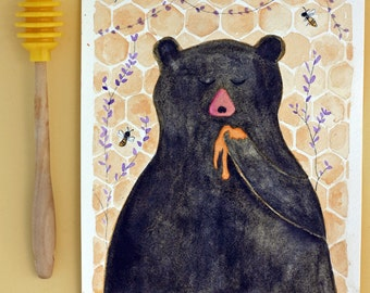 Honey Bear original watercolor, gold and grey, black, bees, honeycomb, children's art, nursery art, bear and honey, lavender, purple