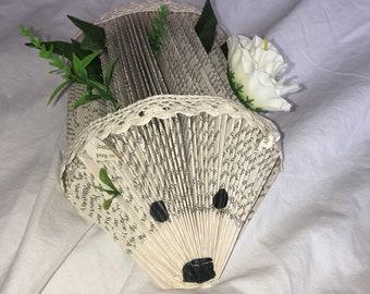Upcycled book hedgehog