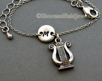 Ancient Harp charm bracelet, The Lyre, antique silver, initial bracelet, friendship, mothers, adjustable, monogram