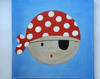 Pirate canvas painting. Boys Room. Original artwork not print. Available in Red, Blue and Lime.