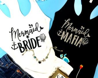 Mermaid Bride Mermaid Mafia Bachelorette Party Tank Tops Bridesmaid Shirts Mermaid Shirts Bride Squad Zspecial Day