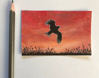 Sunset silhouette - hawk original ACEO/ Artists trading card. Mixed media. Free UK delivery.