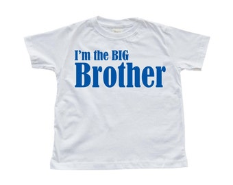 """Toddler T-Shirt """"I'm the BIG Brother"""" Print on White Tee"""