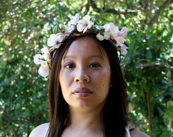 Bohemian Bride - Peach Blossoms Wedding Floral Circlet/Crown/Headpiece - SALE