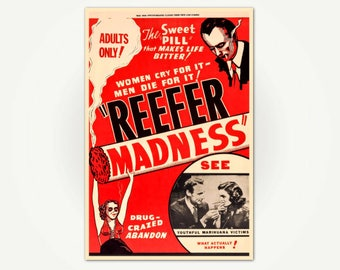 Reefer Madness Vintage Cannabis Exploitation Movie Poster Print