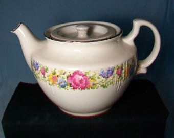 Vintage Harkerware Petit Point Teapot