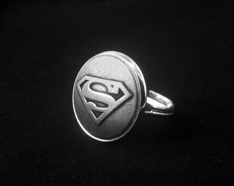 Silver Superman Ring -Super Hero Ring -Adjustable Personalized Ring -Gift for Her