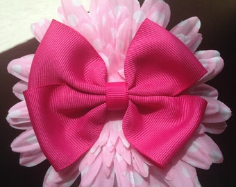 Pink Polka Dots Flower Hair Box Clip
