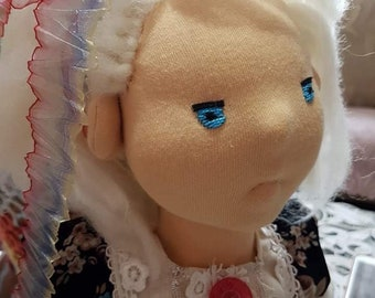 "17"" Natural Fiber Art Doll, Waldorf Inspired Doll, Cloth Doll, Collectible, OOAK, Handmade"