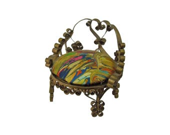 """Vintage Doll Furniture Carved Quilled  Quilling Tin Can Folk Art Chair Intricate Heart Design 4"""" Tall Tramp Art"""
