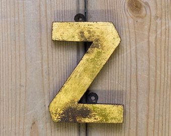 Vintage Letter Z,  Alphabet, Z, Wall Art, gold wooden Z, names, letters, industrial, wall decor, shabby chic, vintage home, initial Z,