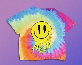 Acid Trippin' Shirt // Acid Shirt//  Smiley Face Shirt// Tie Dye Shirt  // Grunge // Acid //  Festival Clothing