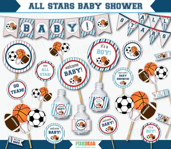 All Star Baby Shower Sports Baby Shower Decorations