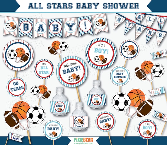 All Star Baby Shower   Sports Baby Shower Decorations   Printable Baby  Shower   Sports Baby Shower   Blue Baby Shower (Instant Download)