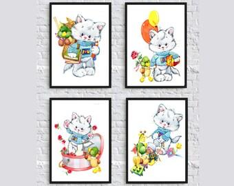 Cute kittens Set of 4 prints. Kitty pupil. Wall Art Print