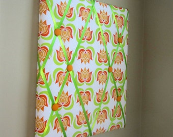 "SALE! 16""x20"" Memory Board, Bow Holder, Ribbon Board, Vision Board, Memo Board, Bow Board,  Orange Yellow Green Modern Lotus"
