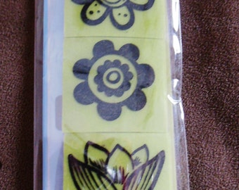 Rubber Stamp Set  --  NEW  -- Mod Flowers Cling Stamps --  Inkadinkado Brand.  (#1634)