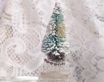 Miniature Perfume Bottle Brush Tree Christmas Vintage 4 Inch Turquoise