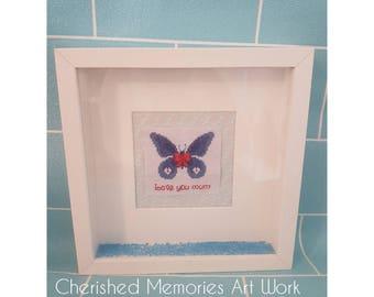 Love you mum butterfly cross stitch frame