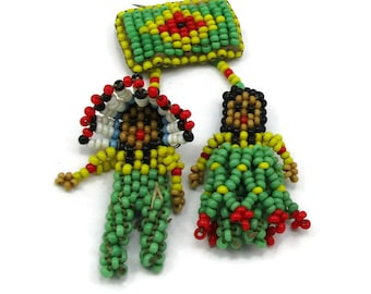 Seed Bead Brooch Leather Back Pilgrim Indian Ethnic Jewelry Native American Vintage Costume Fashion Jewelry Mothers Day Gift Ideas