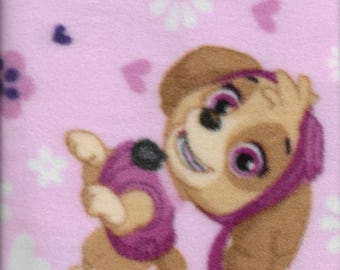 New Nickelodeon Pink Paw Patrol Pup Power Fleece Fabric by the yard Nick jr