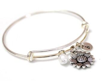 Sunflower Bracelet, Silver Sunflower, Silver Bangle Bracelet, Personalized Bracelet, Initial Bracelet, Initial Bangle Bracelet