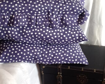 Set of 3 Stone washed blue polka dots linen pillow cases: 1 with ruffles + 2 without ruffles