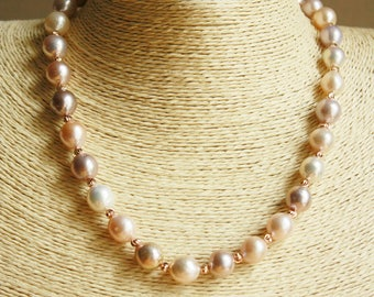 Genuine Freshwater Pearl Necklace, Baroque Pearls Necklace, Peach hued Pearls, Gift for Her, Gift for Mom, FREE SHIPPING