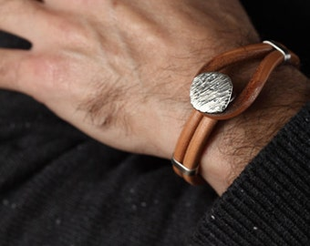 Mens Leather Cuff Bracelet with Sterling Silver Accents
