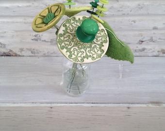 3 shades of green button flower bottle bouquet