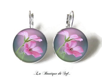 925 Sterling Silver: Stud Earrings with glass cabochons * flowers * (100218) 3 sizes