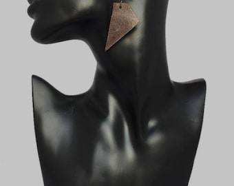 Chocolate Shard Leather Earrings