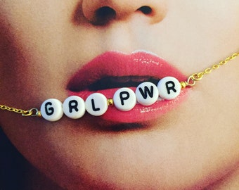 GRL PWR customisable gold filled necklace